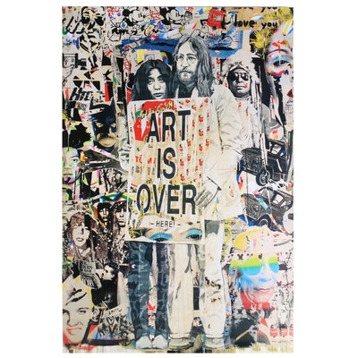 "Offset Poster Print, John Lennon and Yoko Ono ""Art is Over"" after Mr. Brainwash"