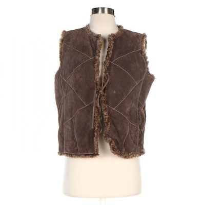 Wilsons Leather Maxima Brown Reversible Suede and Faux Fur Tie Front Vest