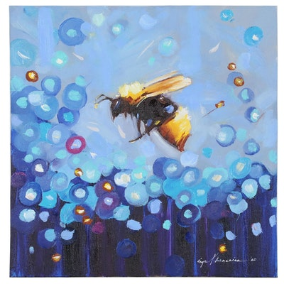 Inga Khanarina Oil Painting of Bee with Abstract Flowers