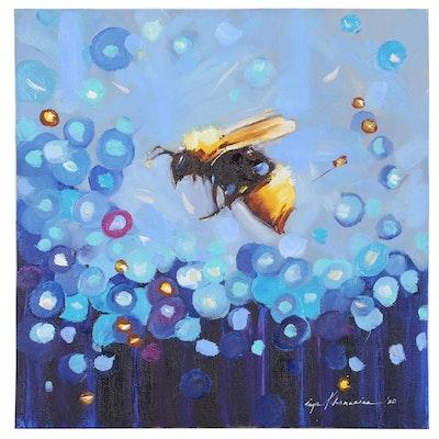 Inga Khanarina Oil Painting of Bee with Abstract Flowers