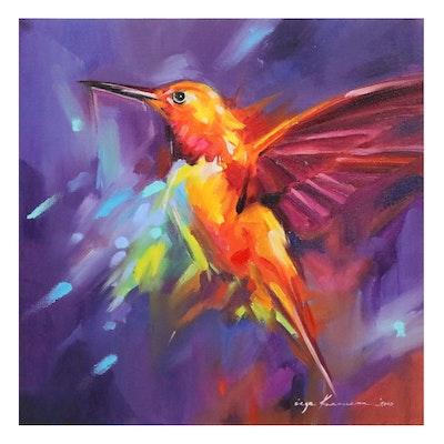 Inga Khanarina Oil Painting of Hummingbird