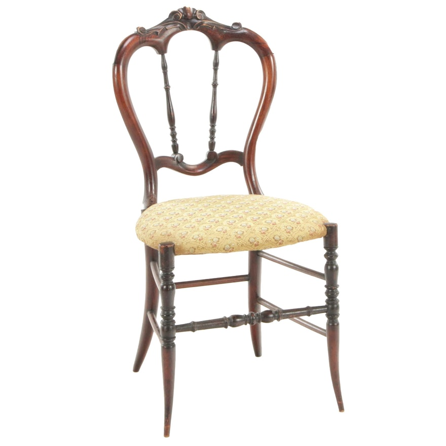 English Victorian Rosewood Grained Side Chair, 19th Century