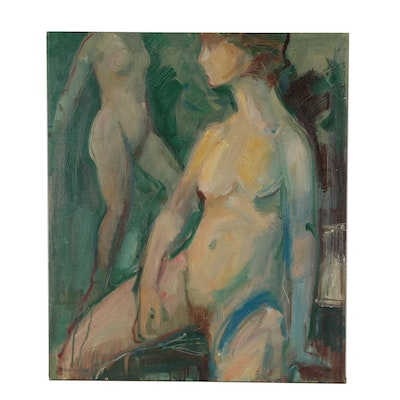 Jack Meanwell Embellished Oil Painting with Nude Figures, 1977