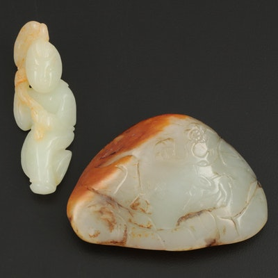 Chinese Nephrite Mountain and Immortal Figural Carvings