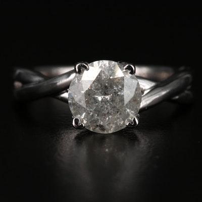 14K 1.61 CT Diamond Solitaire Twist Shank Ring