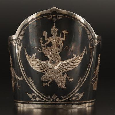Vintage Siam Niello Sterling Silver Cuff Bracelet
