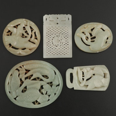 Chinese Nephrite Bird Carved Medallions, Buckle, and Pendant
