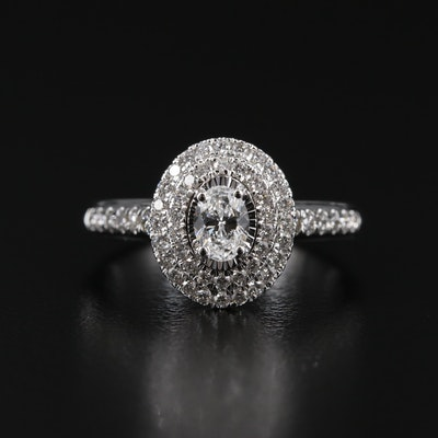 14K Gold 1.05 CTW Diamond Double Halo Ring