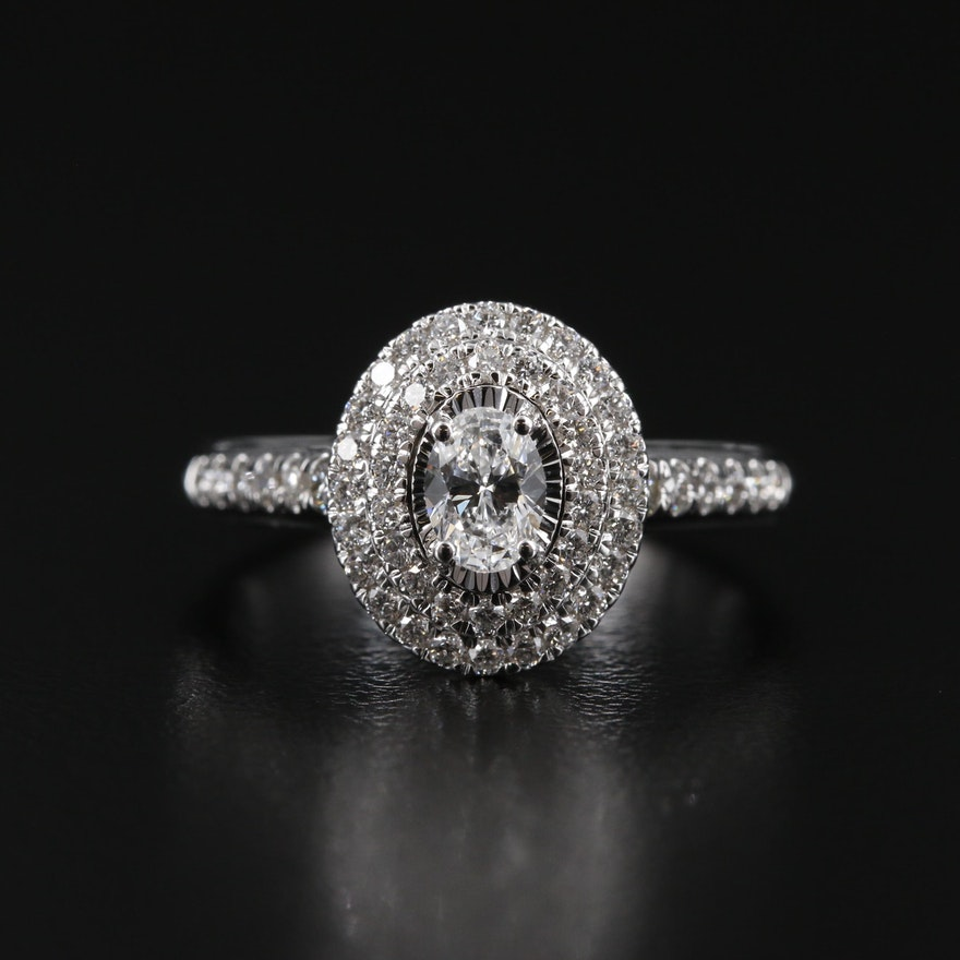 14K Gold 1.05 CTW Diamond Double Halo Ring