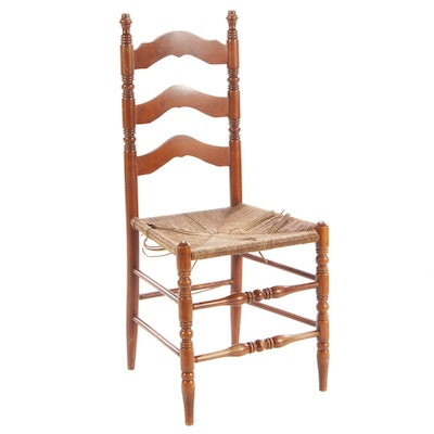 Maple Ladder-Back Side Chair with Rush Seat, Mid-20th Century