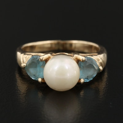 10K Pearl and Topaz Ring