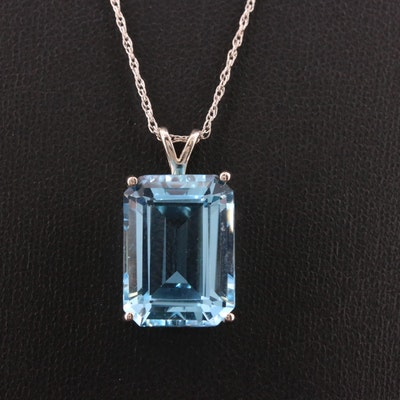 Sterling 16.00 CT Topaz Pendant Necklace