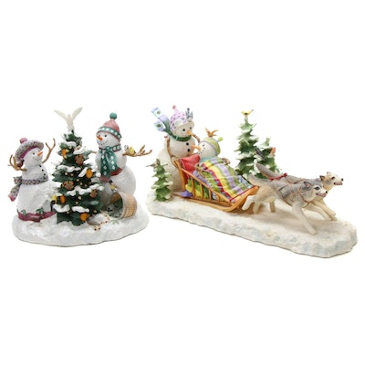 """Lynn Bywaters for Lenox """"Together at Christmas"""" and """"Midnight Dash"""" Figurines"""