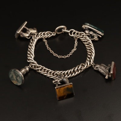 Sterling Silver Gemstone Charm Bracelet With Antique Figural Animal Watch Fobs