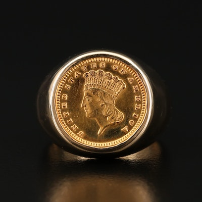 14K Ring with 1888 Indian Princess Head Type III Gold Dollar Coin