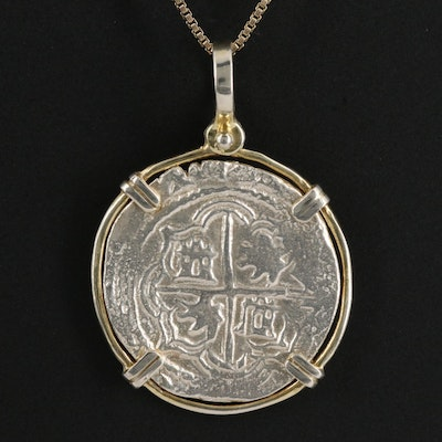 Necklace with Reproduction Spanish Hammered Coin of Isabella and Ferdinand