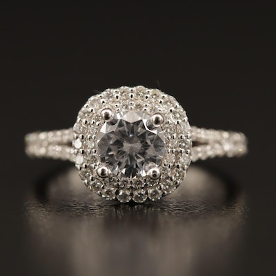 14K Cubic Zirconia and Diamond Semi-Mount Ring