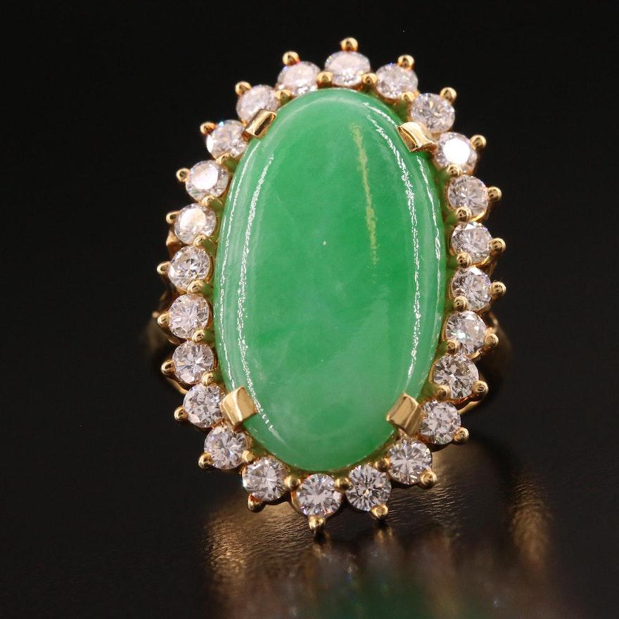 18K Jadeite and 1.00 CTW Diamond Halo Ring