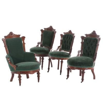 Victorian Renaissance-Revival Walnut Upholstered Chairs, Late 19th Century