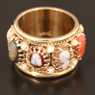 14K Multi-Gemstone, Shell and Seed Pearl Cameo Band