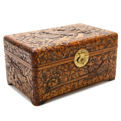 Wood Floral and Bird Motif Engraved Decorative Box, Vintage
