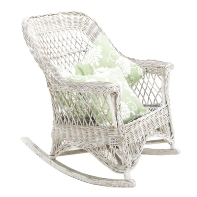 White Painted Wicker Rocking Chair, Mid to Late 20th Century