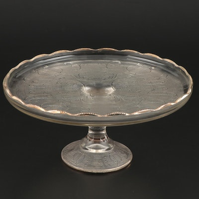 Molded Glass Pedestal Cake Plate, Early to Mid 20th Century