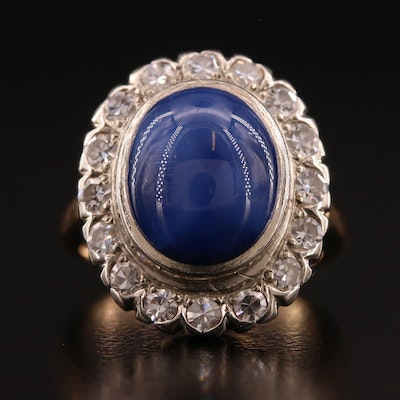 14K Star Sapphire and Diamond Ring