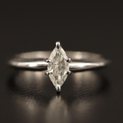 14K 0.40 CT Marquise Cut Diamond Solitaire Ring