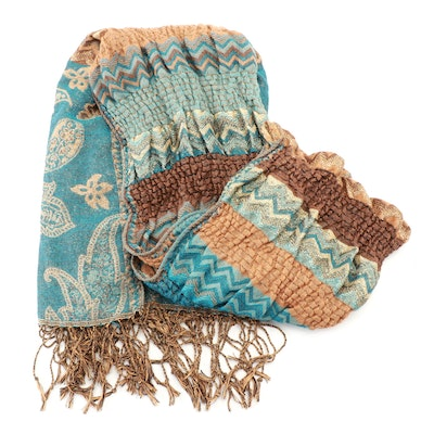 Susan Graver Blue and Brown Tapestry Scrunch Fringed Scarf