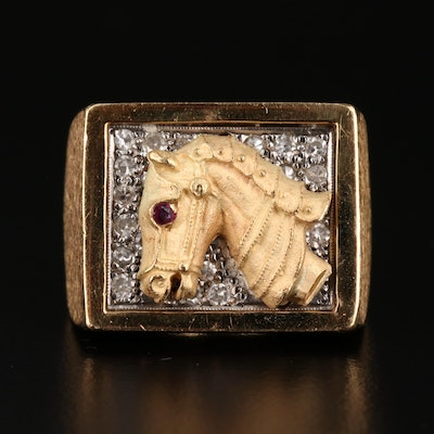 18K Ruby and Diamond Equestrian Themed Ring