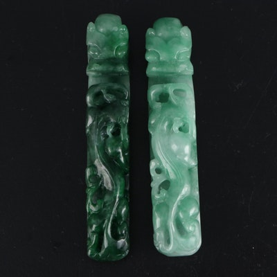 Chinese Carved Jadeite and Dyed Jadeite Dragon Belt Hooks
