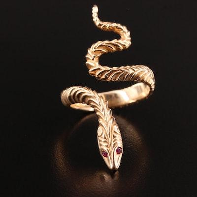 14K Ruby Snake Open Shank Ring
