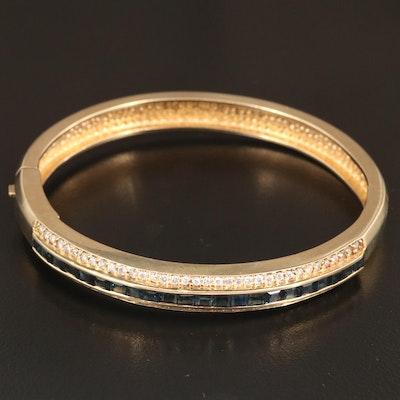 14K Sapphire and 1.31 CTW Diamond Hinged Bangle