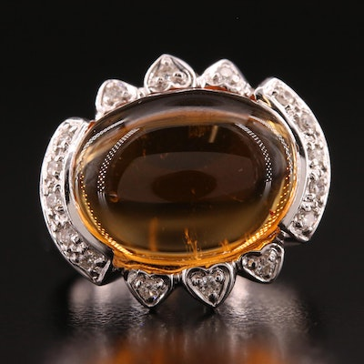 18K Citrine and Diamond Ring