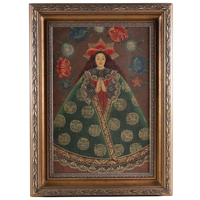 "Peruvian Oil Painting ""Virgin of the Highway"", Late 20th Century"
