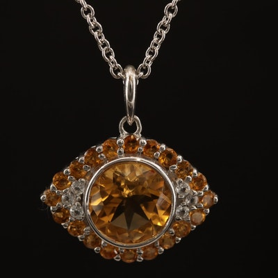 "SeidenGang Sterling Silver Citrine and Topaz ""Evil Eye"" Pendant Necklace"