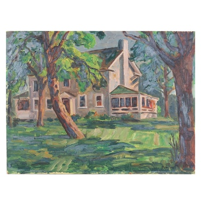 John Pimlott House Front Landscape Oil Painting, Mid to Late 20th Century