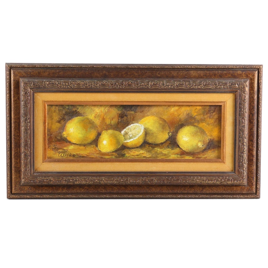 Still Life of Lemons Oil Painting, Mid to Late 20th Century