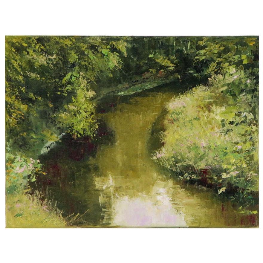 "Garncarek Aleksander Landscape Oil Painting ""Rzeka"", 2020"