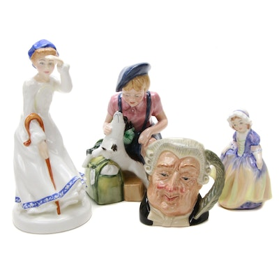"Royal Doulton ""The Lawyer""Jug, ""Dinky Do"", The Homecoming"" and Other Figurines"