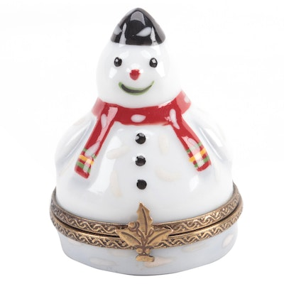 "French Home Hand-Painted ""Snowman"" Porcelain Limoges Box"