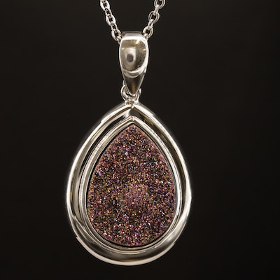 Sterling Silver Druse Quartz Enhancer Pendant Necklace