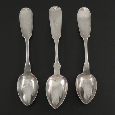 850 and Coin Silver Fiddle Handle Teaspoons, Mid to Late 19th Century