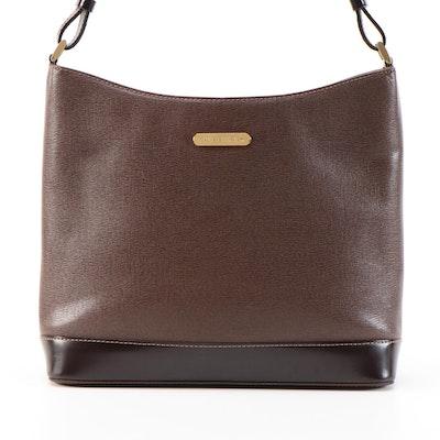 "Burberry Brown/Dark Brown Leather Shoulder Bag with ""Haymarket Check"" Lining"