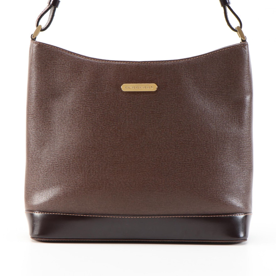 "Burberry Brown/Dark Brown Leather Shoulder Bag with ""Haymarket Check"" Lining"