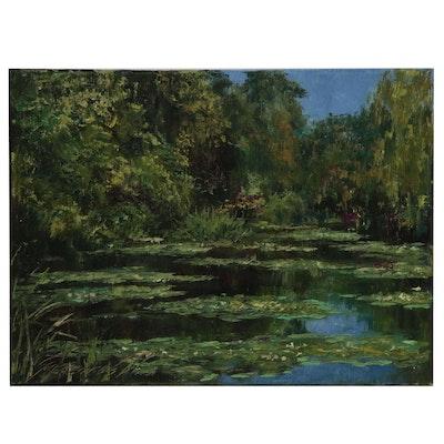 "Garncarek Aleksander Landscape Oil Painting ""Nad Stawem"""