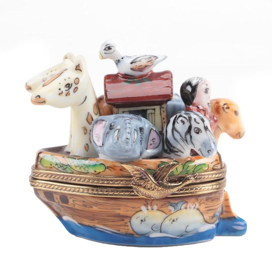 """La Gloriette Hand-Painted """"Noah's Ark"""" Porcelain Limoges Box"""