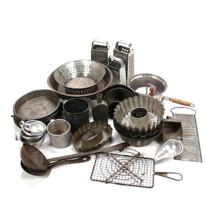 Primitive Metal Pie Pans, Strainers and More Kitchenware
