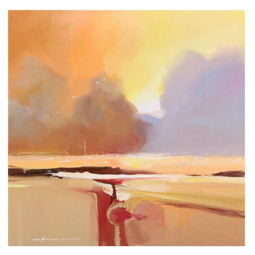 Inga Khanarina Abstract Oil Painting of Harbor Scene